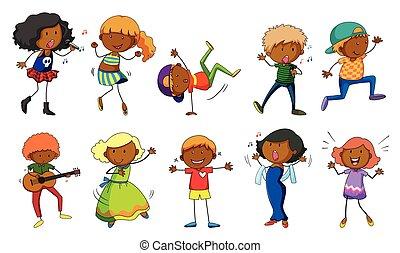 canto, conjunto, niños, bailando