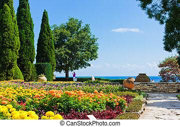 canto, de, jardim botanic, com, flores, e, mar