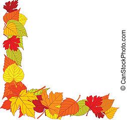canto, folhas, página, outono