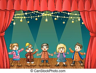 canto, gruppo, bambini, palcoscenico