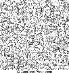 canto, niños, coro, seamless, patrón, en, negro y blanco