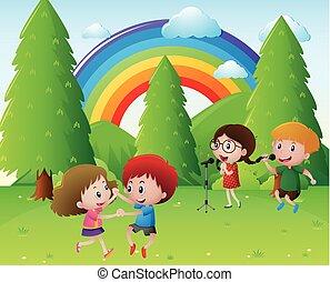 canto, parco, bambini, ballo