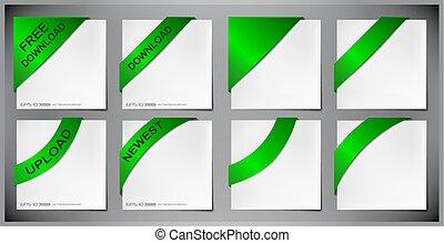 canto, vetorial, verde, fita