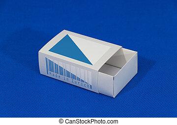 canton, conditionnement, fond, ou, drapeau, rendre, blanc, allumette, mettre, products., papier, couleur, 3d, zurich, boîte, bleu, barcode
