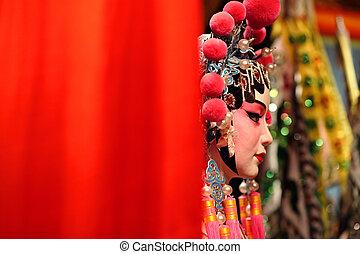 cantonese, opera, finto, con, testo, spazio