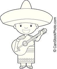 cantor, coloração, fácil, méxico, vestido, guitar., personagem, tradicional, vetorial, mariachi, maneira, caricatura, illustration.