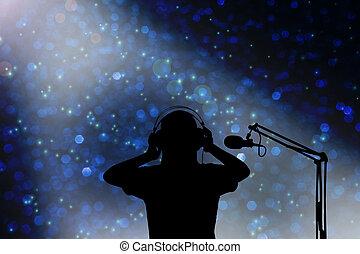 cantor, conceito, silueta, fone, gravando, mulheres, voz, microfone