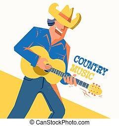 cantor, concerto, boiadeiro, música rural, cartaz, chapéu, homem