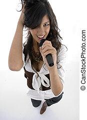 cantor, executar, microfone, femininas