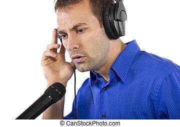 cantor, macho, artista, sobre, voz, ou