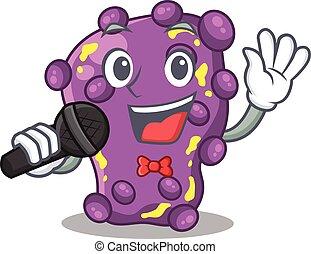 cantor, microfone, caricatura, shigella, talentoso, personagem, segurando