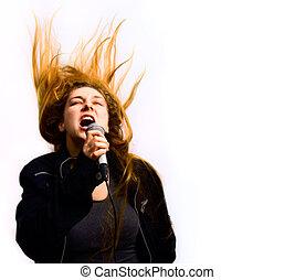 cantor, mulher, com, cabelo, movimento, isolado, branco