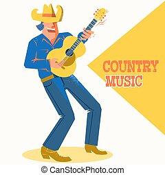 cantor, palying, concerto, boiadeiro, país, músico, guitar., música, cartaz, chapéu, homem