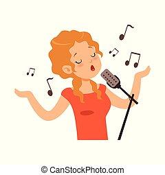 cantor, personagem, ilustração, vetorial, menina, cantando, caricatura, microfone