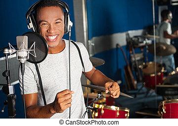 cantor, seu, pista, estudio registro, novo