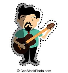cantor, silueta, coloridos, adesivo, guitarra, acústico