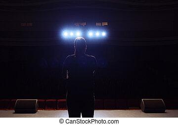 cantor, silueta, stage.