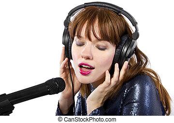 cantora, ligado, um, fundo branco