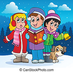 cantores, carol, 2, tema, natal