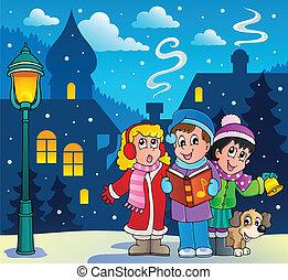 cantores, carol, 3, tema, natal