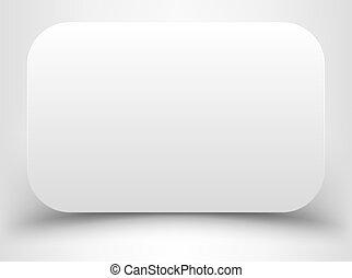 cantos, branca, arredondado, retângulo, em branco