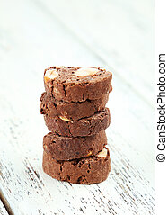 Cantuccini cookies on white wooden background