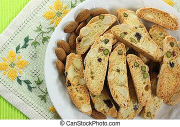 Cantuccini, original Italian crisp almond cookies - sweet...