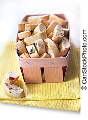 Cantuccini with peanuts, dried apricots and raisins