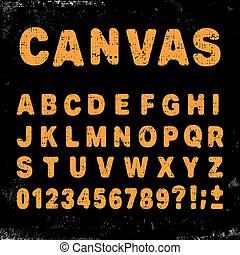 Canvas alphabet font - Canvas alphabet vintage template...
