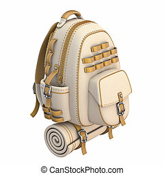 Canvas and leather backpack Front side view 3D