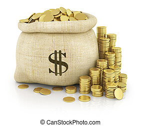 Canvas bag filled with coins. A white background. Isolated.