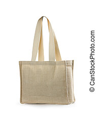 canvas beach bag on a white background. Isolated path ...