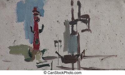 Canvas, brush, drawing