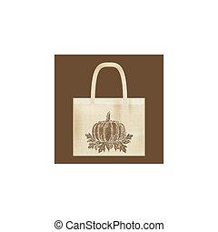 Canvas cotton textiles eco bag. Harvest, pumpkin, leaves. Natural color. Grunge burlap texture.