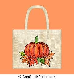 Canvas cotton textiles eco bag. Harvest, pumpkin, leaves. Natural color. Stop plastic pollution. Grunge burlap texture.