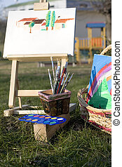 Canvas Easel and Paintbrushes
