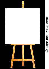 Photo of canvas and easel isolated in black background