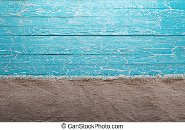 Canvas fabric on a blue background