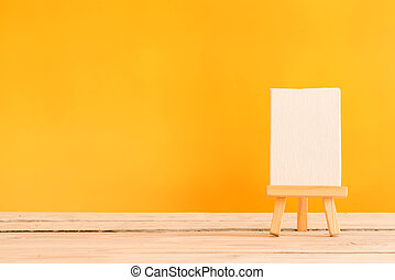 Canvas on a wooden table