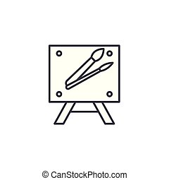 Canvas paintbrush linear icon concept. Canvas paintbrush line vector sign, symbol, illustration.
