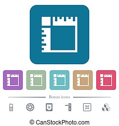 Canvas rulers flat icons on color rounded square backgrounds