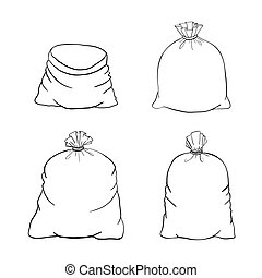 Canvas sack vector. Set canvas bag Illustration