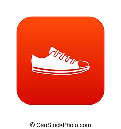Canvas sneaker icon digital red