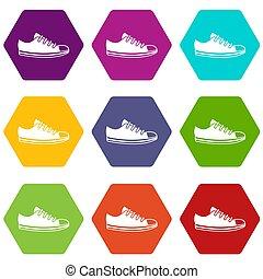 Canvas sneaker icon set color hexahedron