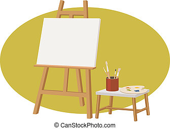 canvas stand with a empty canvas, palette, and brush