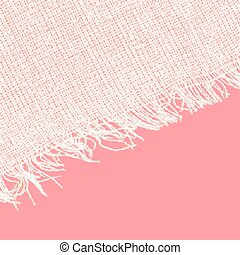 Canvas texture with fringe. White red color