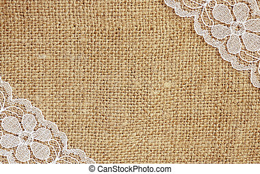 Canvas with white lace - Canvas background with white lace...