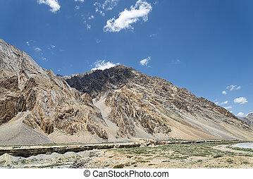 Canyon and mountains in Himalaya