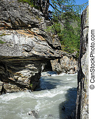 Canyon and river in Osttirol on a sunny day in summer