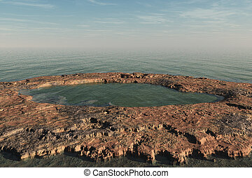 Canyon and Sea - A rocky landscape surrounded by the sea.